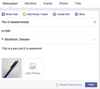 facebook pen for sale post