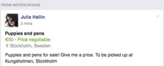 item for sale post screenshot