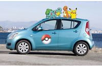 pokemon sitting on top of a car