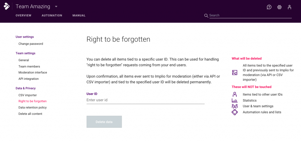 Right to be forgotten - implio features GDPR