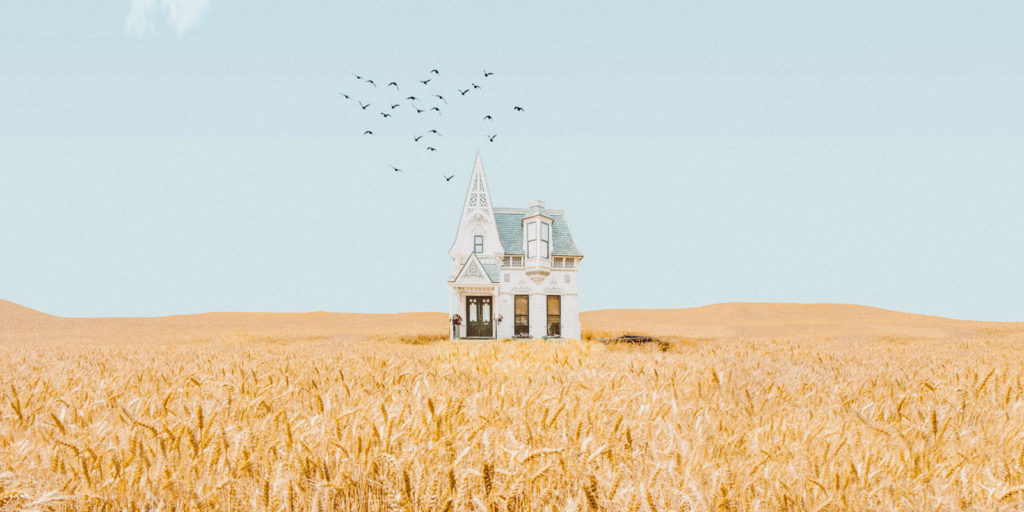 Lonely house in field